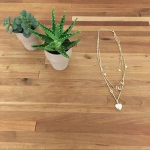 Delicate 3 strand gold stars and heart necklace